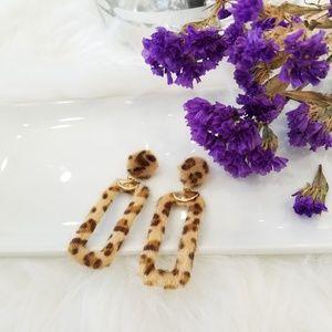 Faux fur leapord print earrings